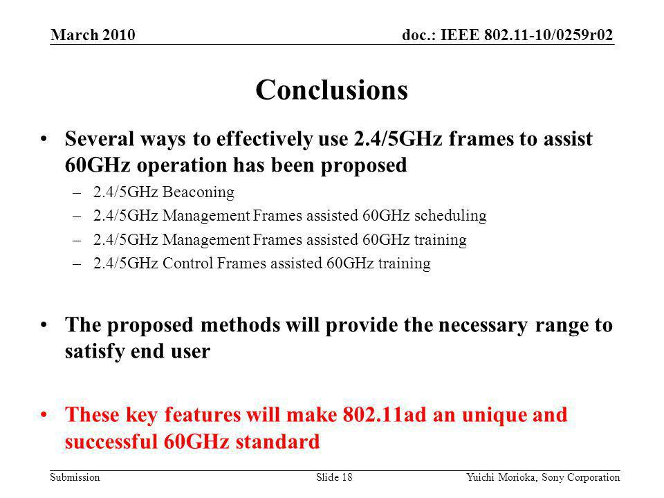doc.: IEEE /0259r02 Submission Several ways to effectively use 2.4/5GHz frames to assist 60GHz operation has been proposed –2.4/5GHz Beaconing –2.4/5GHz Management Frames assisted 60GHz scheduling –2.4/5GHz Management Frames assisted 60GHz training –2.4/5GHz Control Frames assisted 60GHz training The proposed methods will provide the necessary range to satisfy end user These key features will make ad an unique and successful 60GHz standard Conclusions March 2010 Yuichi Morioka, Sony CorporationSlide 18