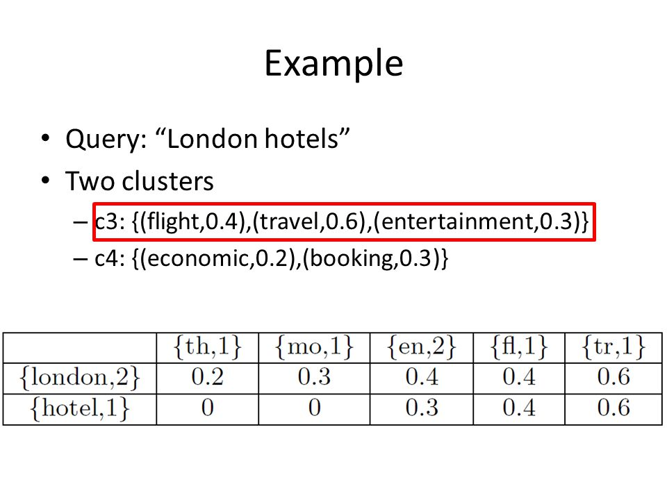 Example Query: London hotels Two clusters – c3: {(flight,0.4),(travel,0.6),(entertainment,0.3)} – c4: {(economic,0.2),(booking,0.3)}