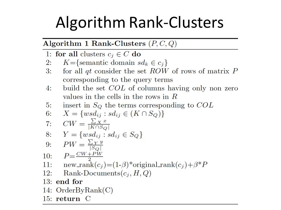 Algorithm Rank-Clusters
