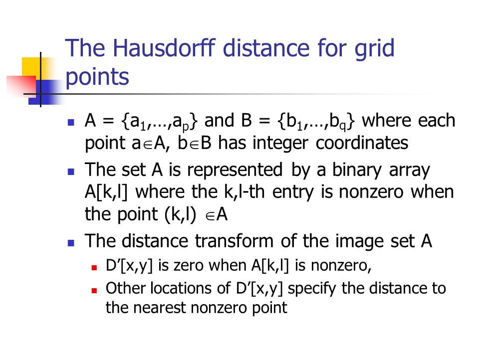 The Hausdorff distance for grid points A = {a 1,…,a p } and B = {b 1,…,b q } where each point a A, b B has integer coordinates The set A is represente