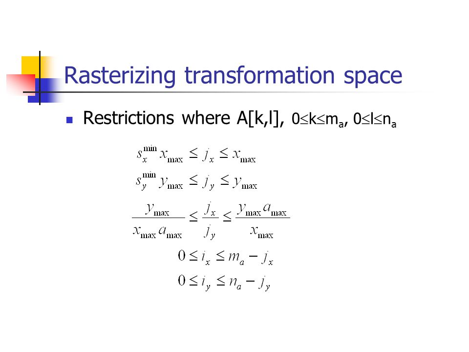 Rasterizing transformation space Restrictions where A[k,l], 0 k m a, 0 l n a