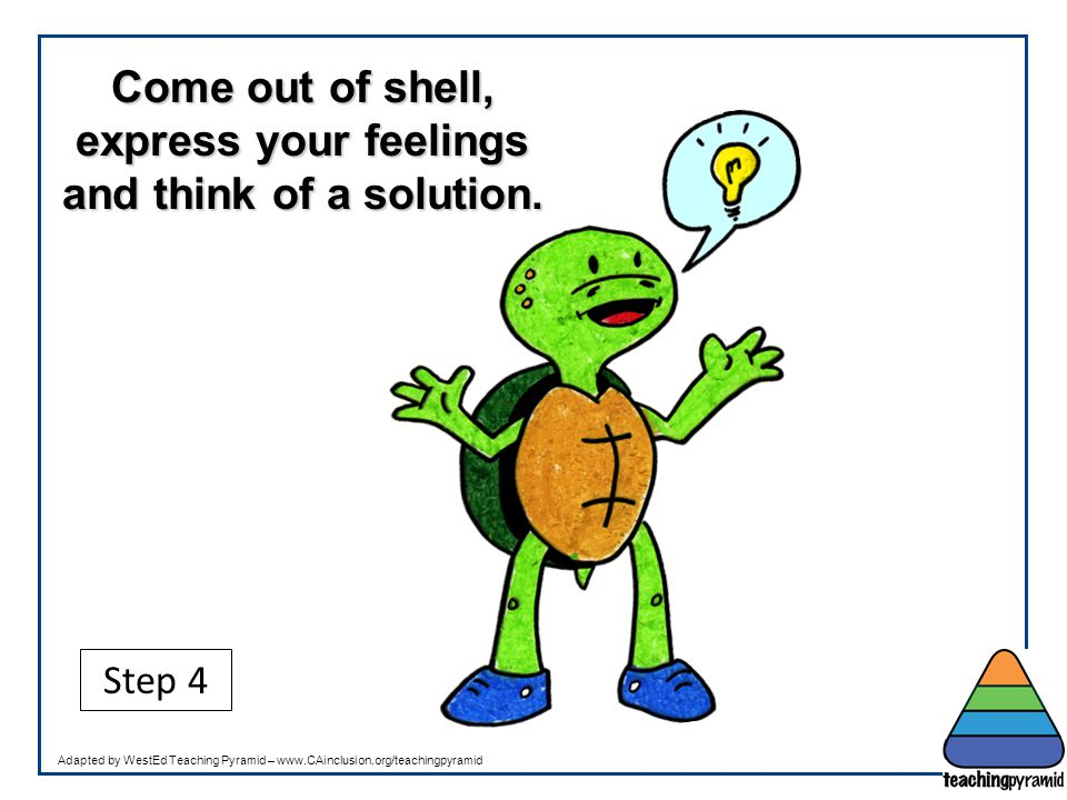 Come out of shell, express your feelings and think of a solution. Step 4 Adapted by WestEd Teaching Pyramid – www.CAinclusion.org/teachingpyramid