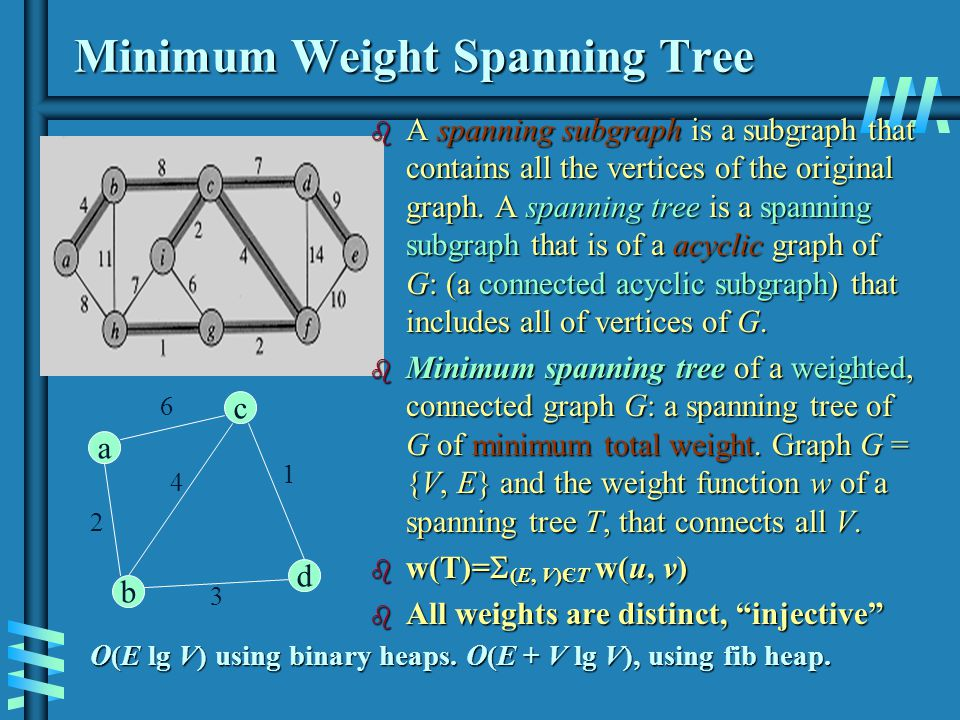 Notes about Kruskals algorithm b Algorithm looks easier than Prims but is harder to implement (checking for cycles!) b Cycle checking: a cycle is created iff added edge connects vertices in the same connected component b Union-find algorithms