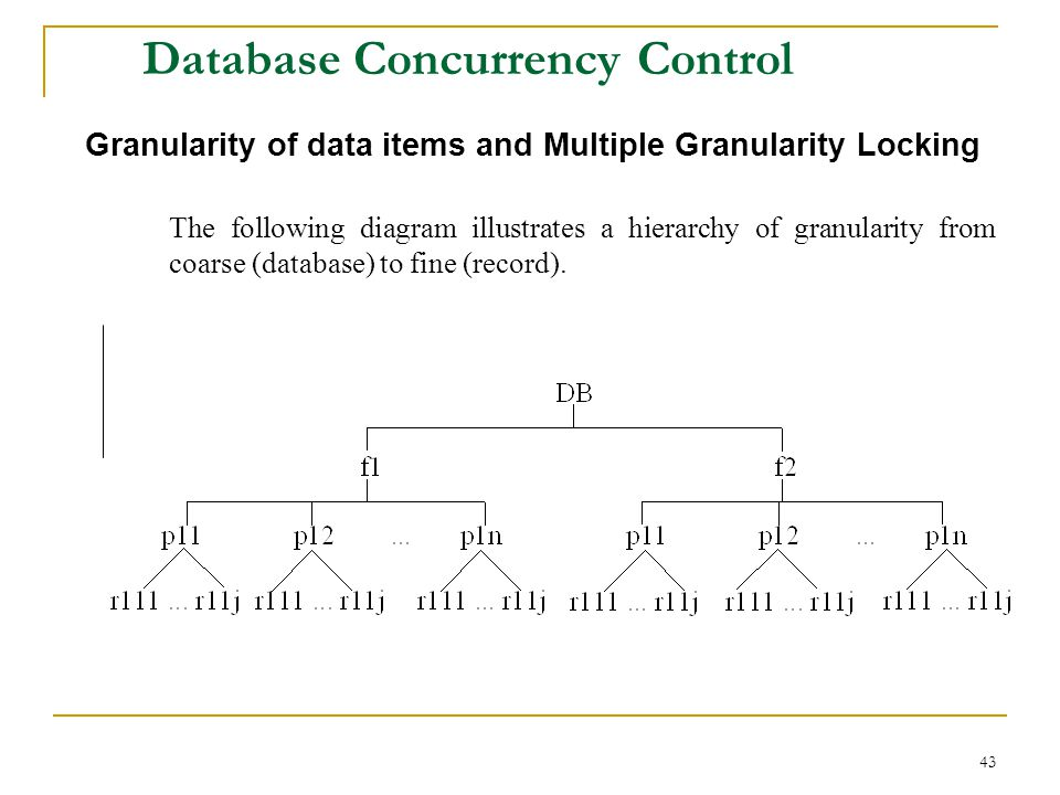 43 Database Concurrency Control Granularity of data items and Multiple Granularity Locking The following diagram illustrates a hierarchy of granularity from coarse (database) to fine (record).