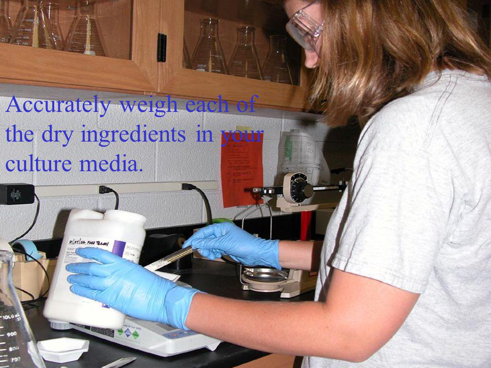 Accurately weigh each of the dry ingredients in your culture media.