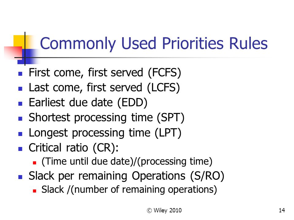 © Wiley 201014 Commonly Used Priorities Rules First come, first served (FCFS) Last come, first served (LCFS) Earliest due date (EDD) Shortest processi