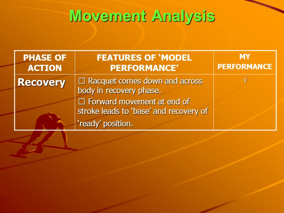 Movement Analysis PHASE OF ACTION FEATURES OF MODEL PERFORMANCE MY PERFORMANCE Recovery • Racquet comes down and across body in recovery phase. • Forw