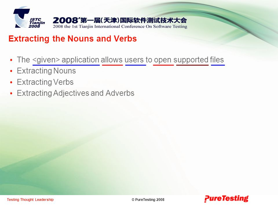 © PureTesting 2008Testing Thought Leadership Extracting the Nouns and Verbs The application allows users to open supported files Extracting Nouns Extracting Verbs Extracting Adjectives and Adverbs