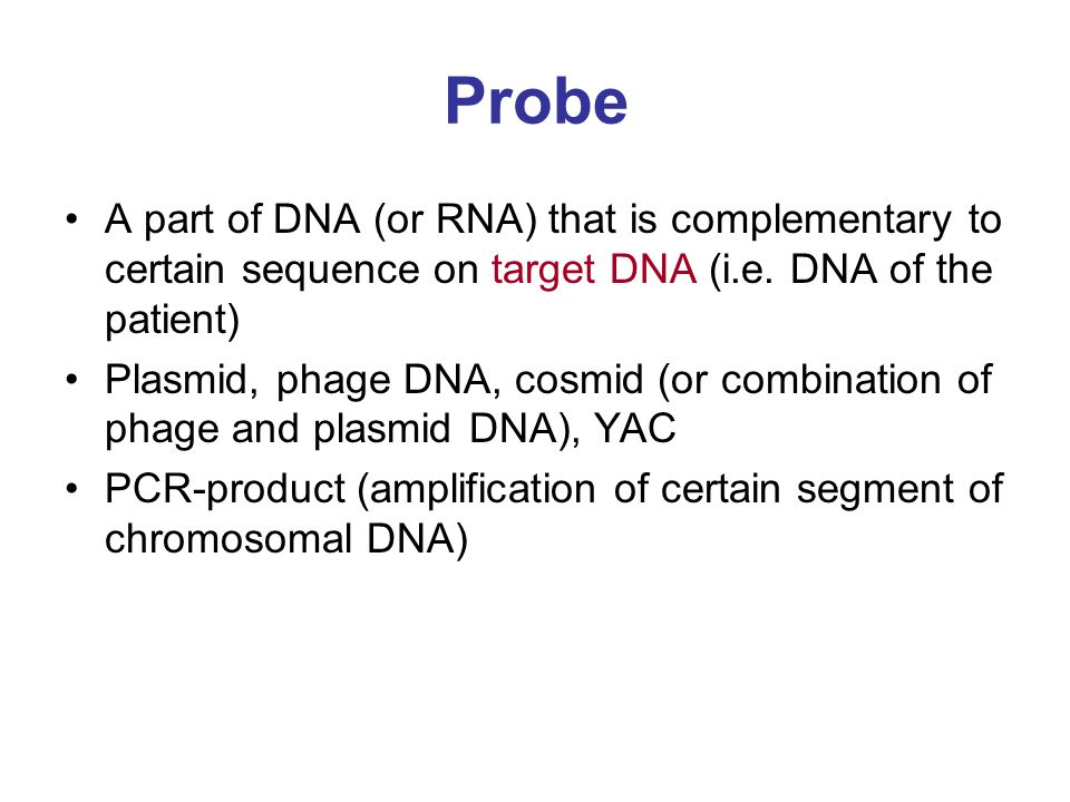 Probe A part of DNA (or RNA) that is complementary to certain sequence on target DNA (i.e. DNA of the patient) Plasmid, phage DNA, cosmid (or combinat