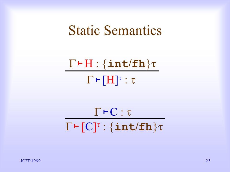 ICFP 199923 Static Semantics C] int / fh C H int / fh H]