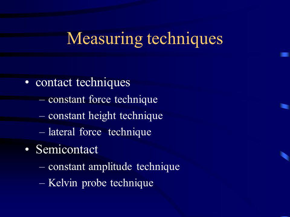 Measuring techniques contact techniques –constant force technique –constant height technique –lateral force technique Semicontact –constant amplitude technique –Kelvin probe technique