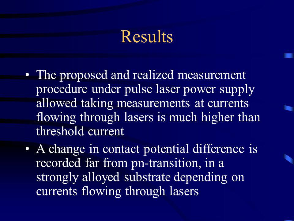 Results The proposed and realized measurement procedure under pulse laser power supply allowed taking measurements at currents flowing through lasers