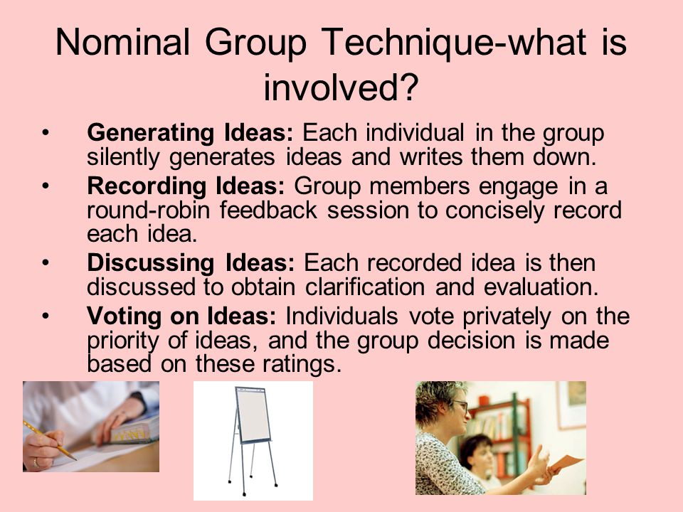 Nominal Group Technique-what is involved? Generating Ideas: Each individual in the group silently generates ideas and writes them down. Recording Idea