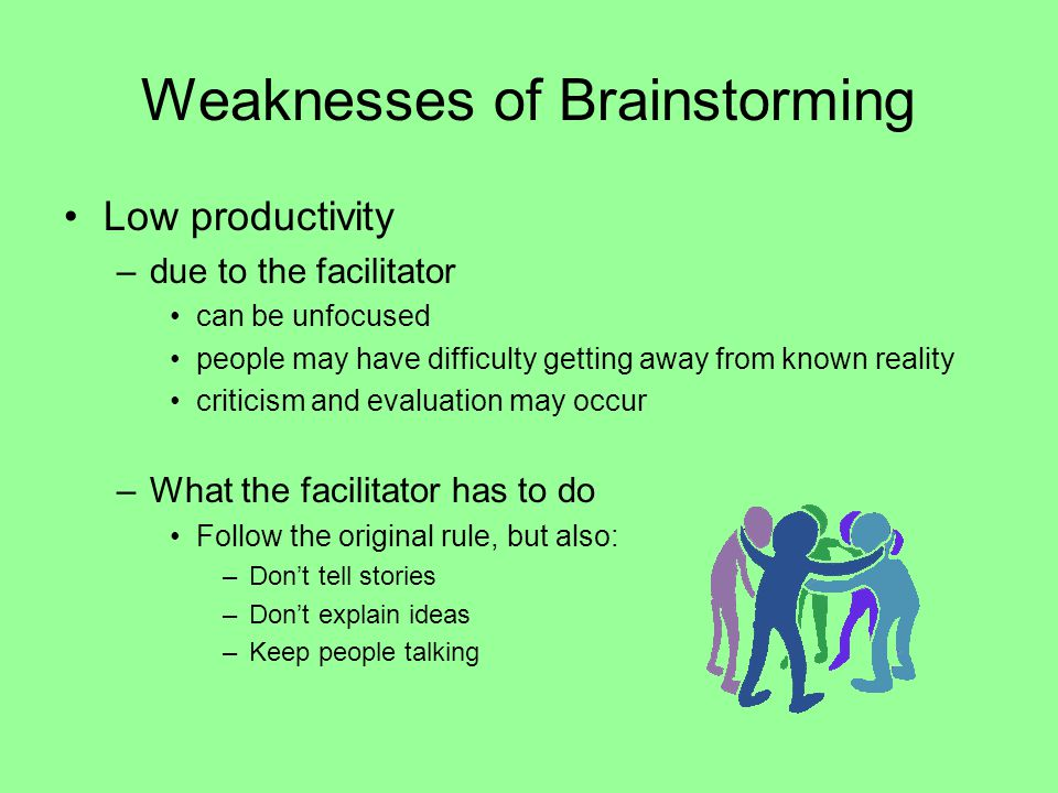 Weaknesses of Brainstorming Low productivity –due to the facilitator can be unfocused people may have difficulty getting away from known reality criti
