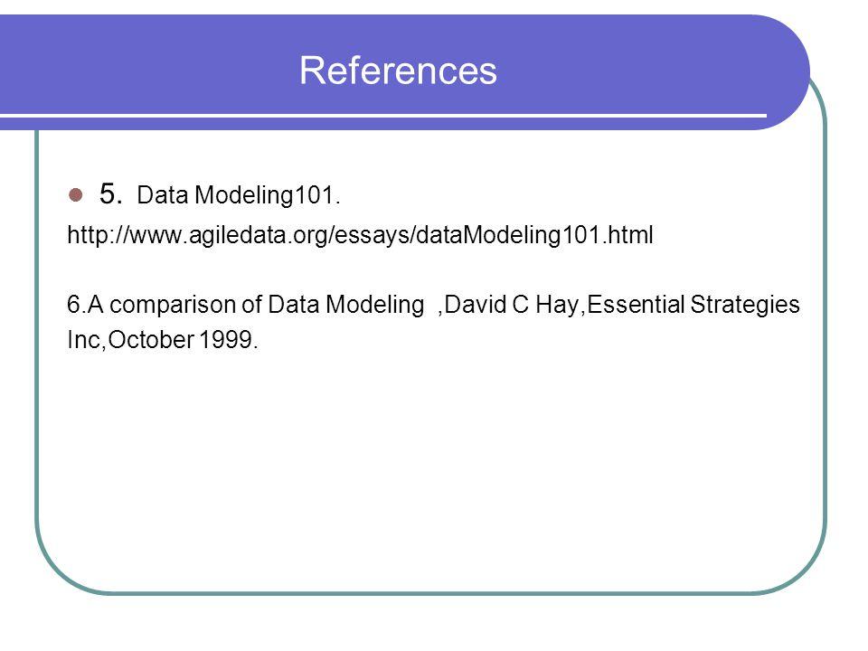 References 5. Data Modeling101. http://www.agiledata.org/essays/dataModeling101.html 6.A comparison of Data Modeling,David C Hay,Essential Strategies