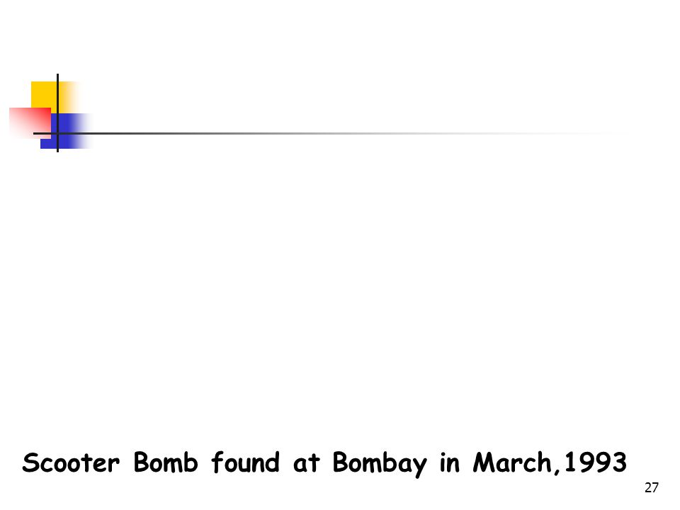 27 Scooter Bomb found at Bombay in March,1993