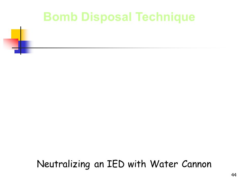 44 Bomb Disposal Technique Neutralizing an IED with Water Cannon