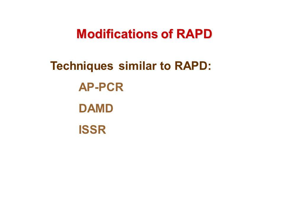 Modifications of RAPD Techniques similar to RAPD: AP-PCR DAMD ISSR