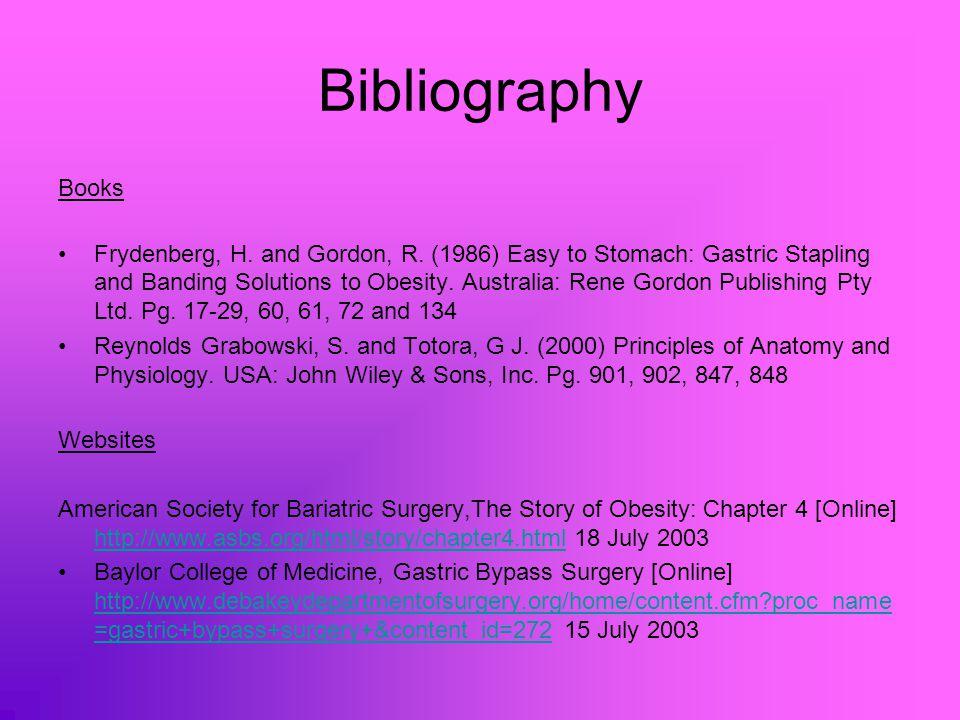 Bibliography Books Frydenberg, H. and Gordon, R.