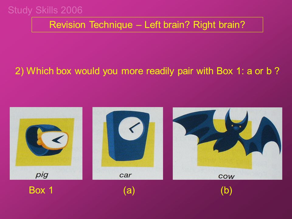 Study Skills 2006 Revision Technique – Left brain? Right brain? 2) Which box would you more readily pair with Box 1: a or b ? Box 1(a) (b)