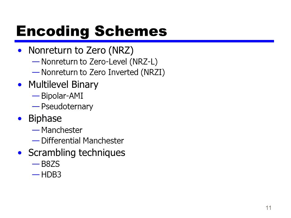 11 Encoding Schemes Nonreturn to Zero (NRZ) Nonreturn to Zero-Level (NRZ-L) Nonreturn to Zero Inverted (NRZI) Multilevel Binary Bipolar-AMI Pseudoternary Biphase Manchester Differential Manchester Scrambling techniques B8ZS HDB3