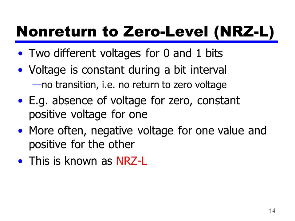14 Nonreturn to Zero-Level (NRZ-L) Two different voltages for 0 and 1 bits Voltage is constant during a bit interval no transition, i.e.