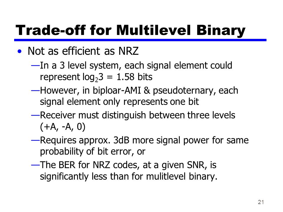 21 Trade-off for Multilevel Binary Not as efficient as NRZ In a 3 level system, each signal element could represent log 2 3 = 1.58 bits However, in biploar-AMI & pseudoternary, each signal element only represents one bit Receiver must distinguish between three levels (+A, -A, 0) Requires approx.
