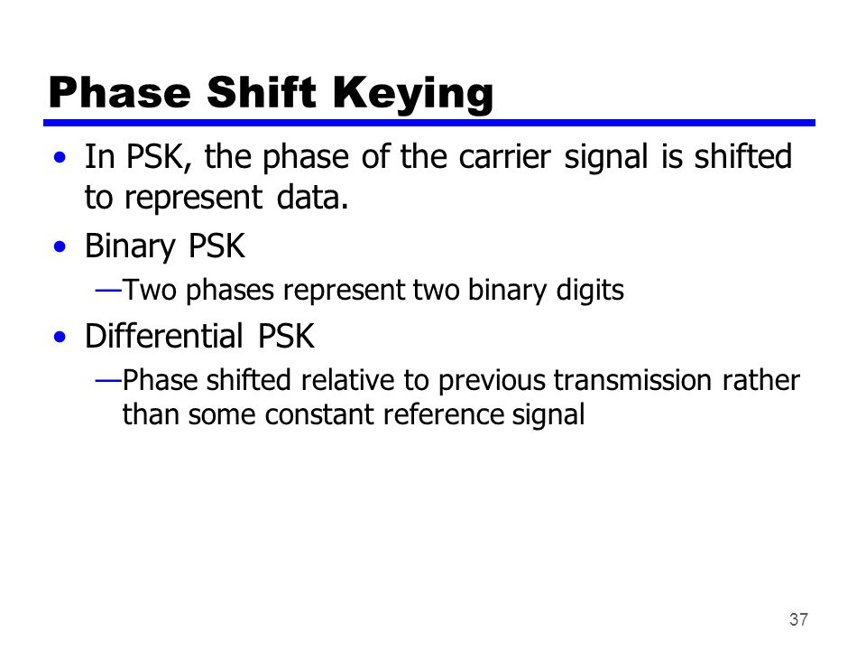 37 Phase Shift Keying In PSK, the phase of the carrier signal is shifted to represent data.