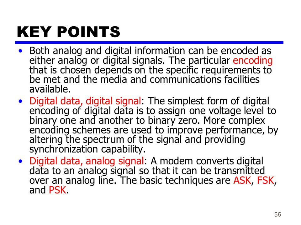 55 KEY POINTS Both analog and digital information can be encoded as either analog or digital signals.