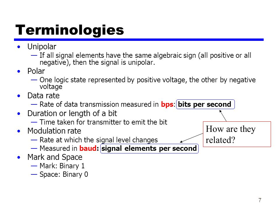 7 Terminologies Unipolar If all signal elements have the same algebraic sign (all positive or all negative), then the signal is unipolar.