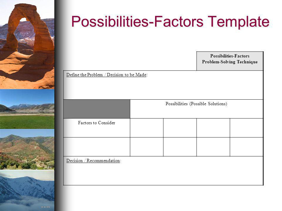 Possibilities-Factors Template Possibilities-Factors Problem-Solving Technique Define the Problem / Decision to be Made: Possibilities (Possible Solut