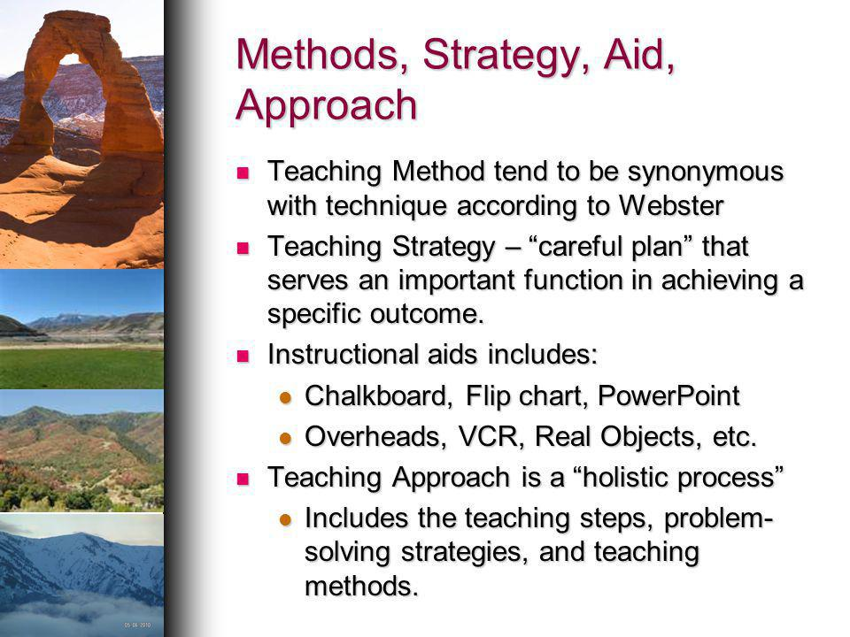 Methods, Strategy, Aid, Approach Teaching Method tend to be synonymous with technique according to Webster Teaching Method tend to be synonymous with