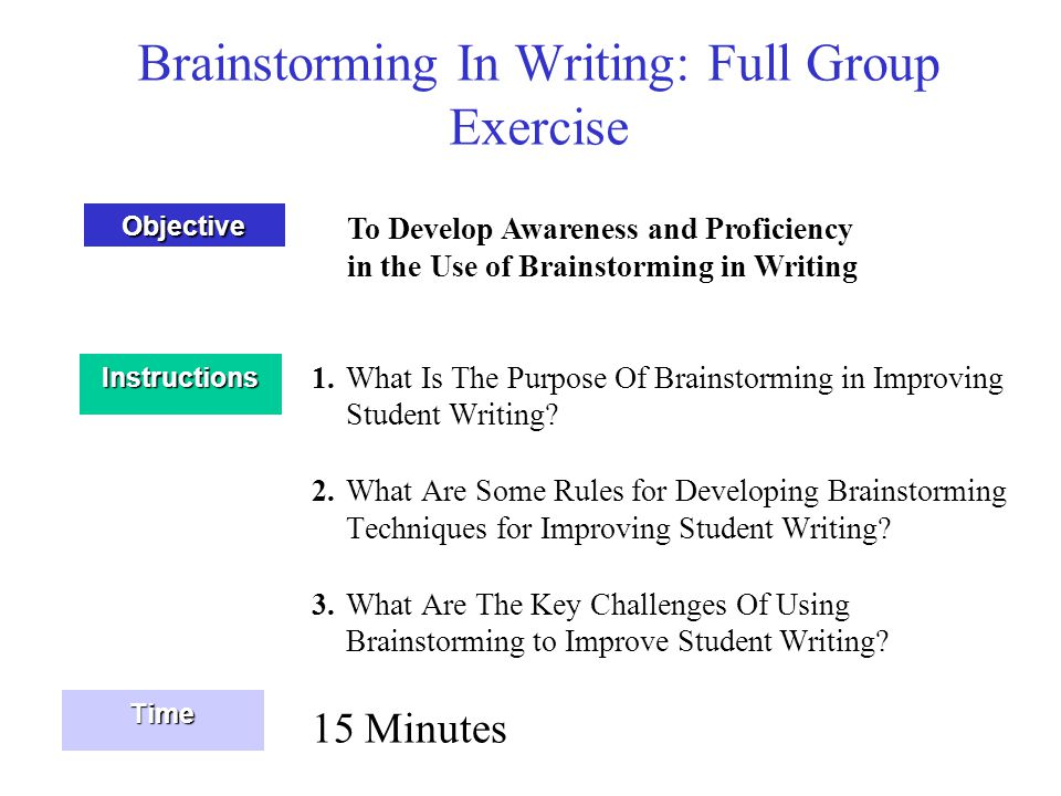 Brainstorming In Writing: Full Group Exercise 1.What Is The Purpose Of Brainstorming in Improving Student Writing? 2.What Are Some Rules for Developin