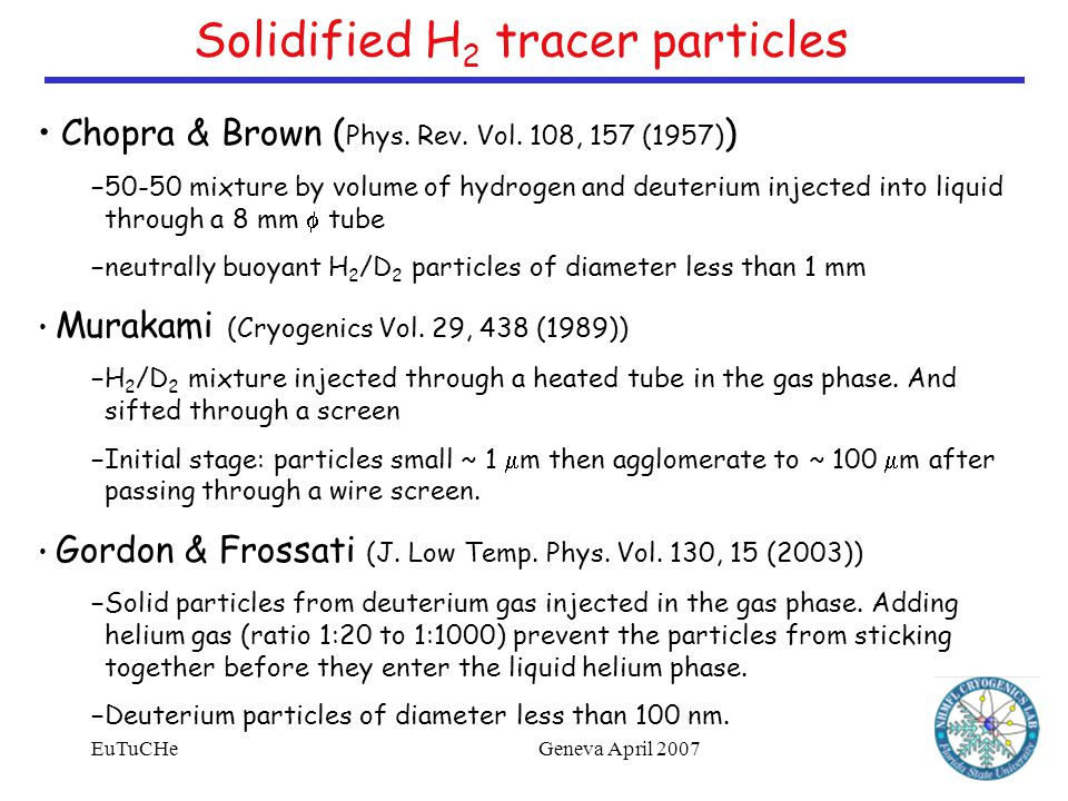 EuTuCHeGeneva April 2007 Solidified H 2 tracer particles Chopra & Brown ( Phys.