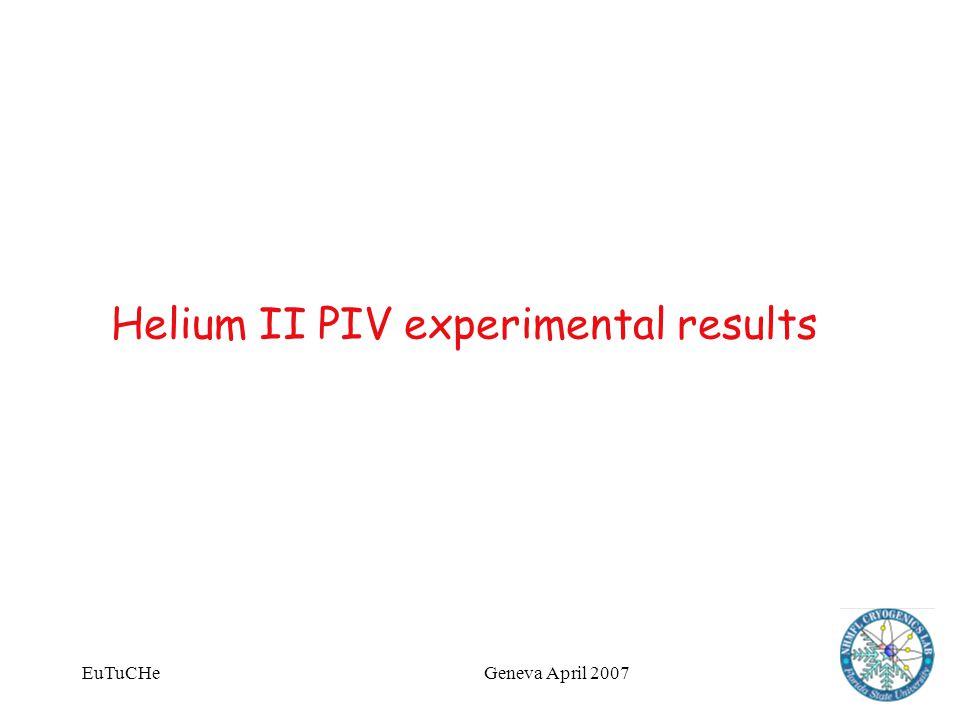 EuTuCHeGeneva April 2007 Helium II PIV experimental results