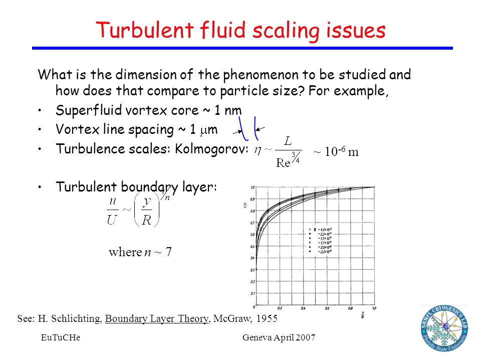 EuTuCHeGeneva April 2007 Turbulent fluid scaling issues What is the dimension of the phenomenon to be studied and how does that compare to particle size.