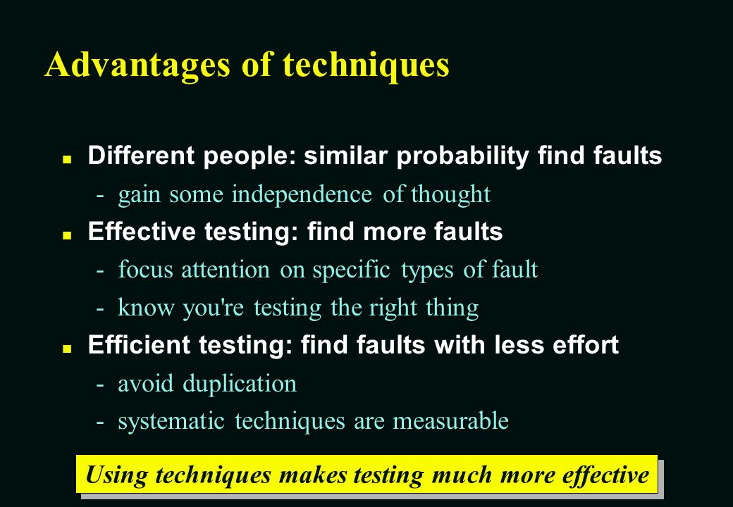 Contents What is a testing technique.