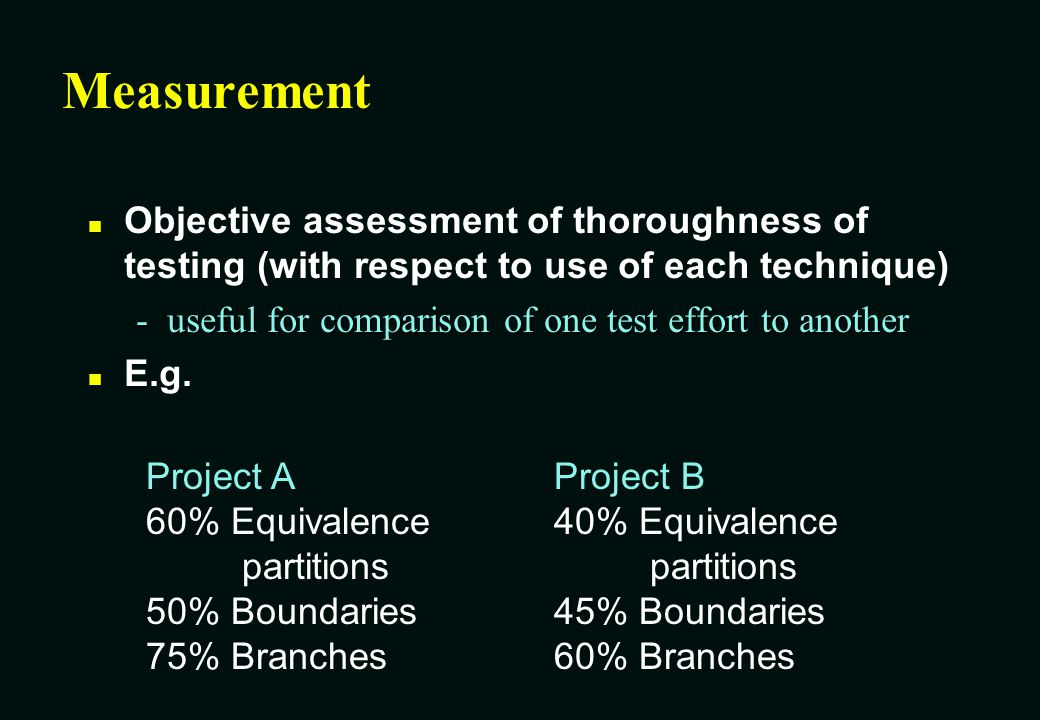 White Box test design and measurement techniques n Techniques defined in BS 7925-2 -Statement testing -Branch / Decision testing -Data flow testing -Branch condition testing -Branch condition combination testing -Modified condition decision testing -LCSAJ testing n Also defines how to specify other techniques = Yes = No Also a measurement technique?