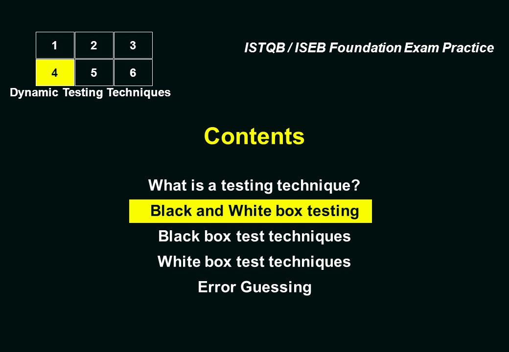 Three types of systematic technique Static (non-execution) examination of documentation, source code listings, etc.examination of documentation, source code listings, etc.