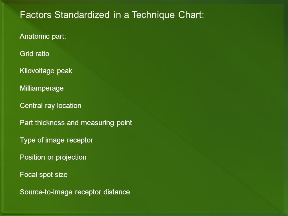 Factors Standardized in a Technique Chart: Anatomic part: Grid ratio Kilovoltage peak Milliamperage Central ray location Part thickness and measuring