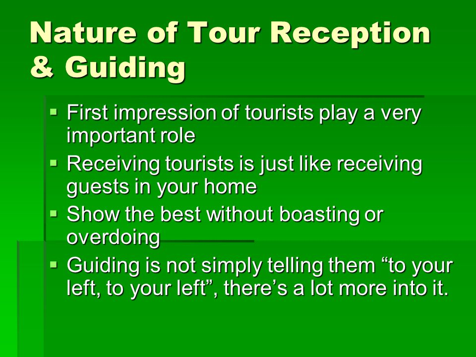 Qualities of an effective Tour Guide Love of country Love of country People-loving People-loving Open-mindedness Open-mindedness Tactfulness Tactfulness Punctuality Punctuality Proper decorum Proper decorum Honesty Honesty resourcefulness resourcefulness