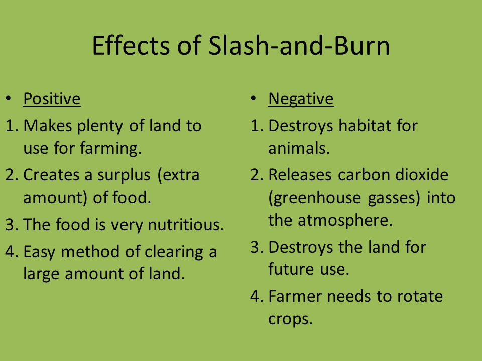 Effects of Slash-and-Burn Positive 1.Makes plenty of land to use for farming. 2.Creates a surplus (extra amount) of food. 3.The food is very nutritiou