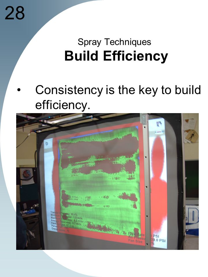 28 Spray Techniques Build Efficiency Consistency is the key to build efficiency.