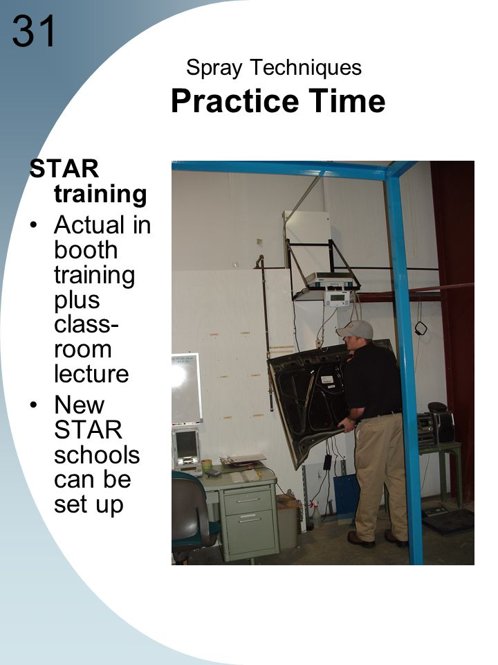 31 Spray Techniques Practice Time STAR training Actual in booth training plus class- room lecture New STAR schools can be set up