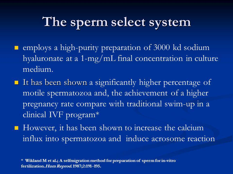 The sperm select system employs a high-purity preparation of 3000 kd sodium hyaluronate at a 1-mg/mL final concentration in culture medium. It has bee