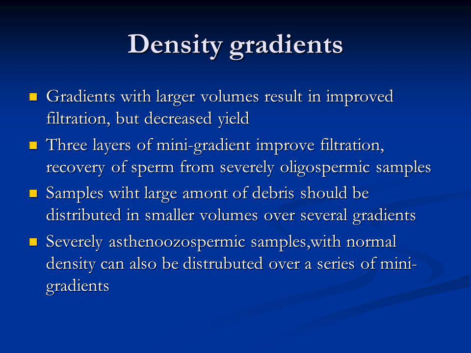 Density gradients Gradients with larger volumes result in improved filtration, but decreased yield Gradients with larger volumes result in improved fi