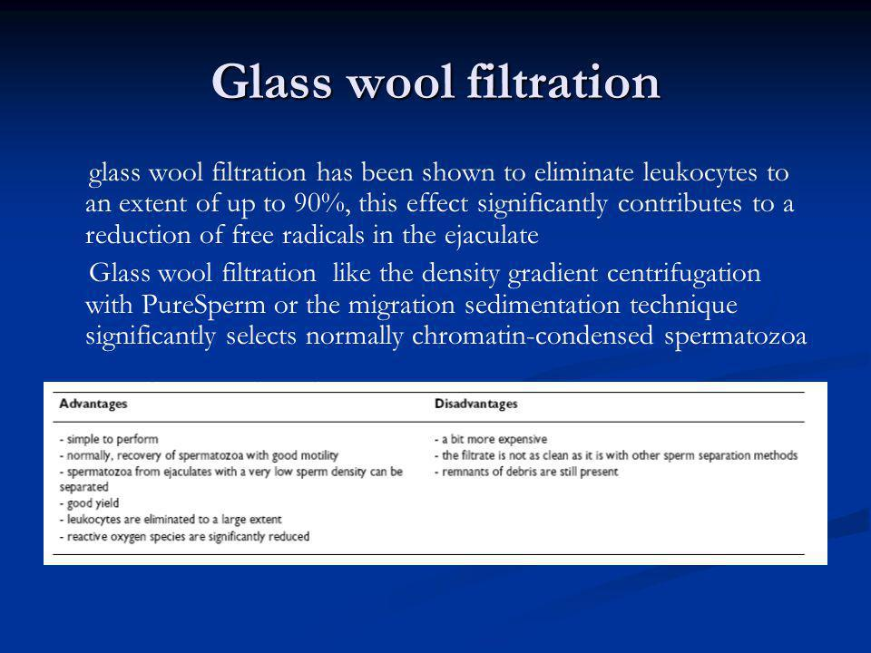 Glass wool filtration glass wool filtration has been shown to eliminate leukocytes to an extent of up to 90%, this effect significantly contributes to