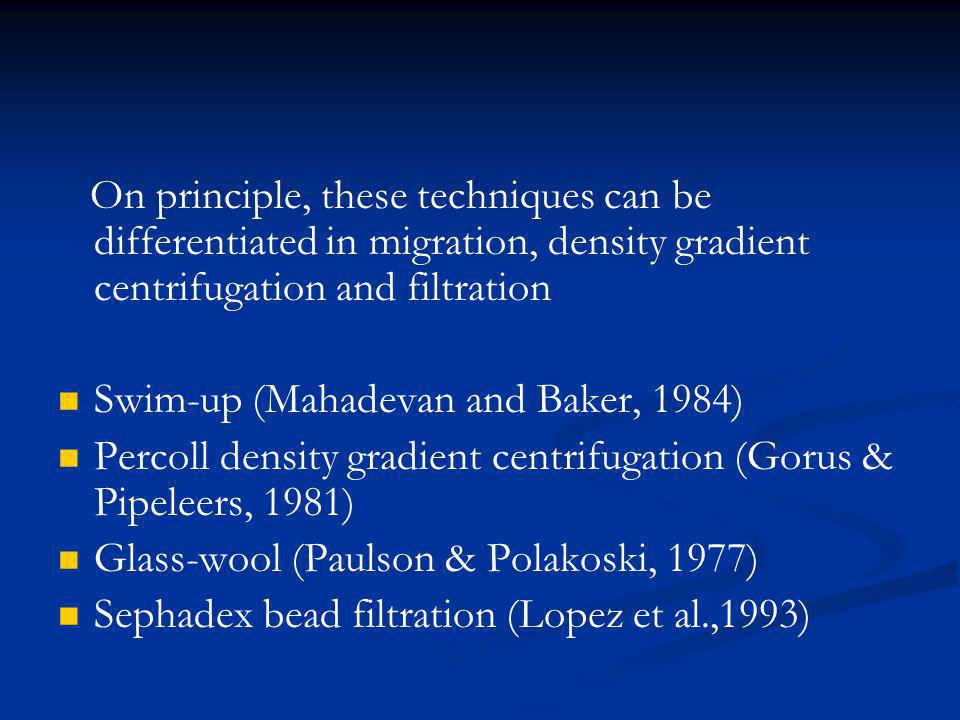 On principle, these techniques can be differentiated in migration, density gradient centrifugation and filtration Swim-up (Mahadevan and Baker, 1984)