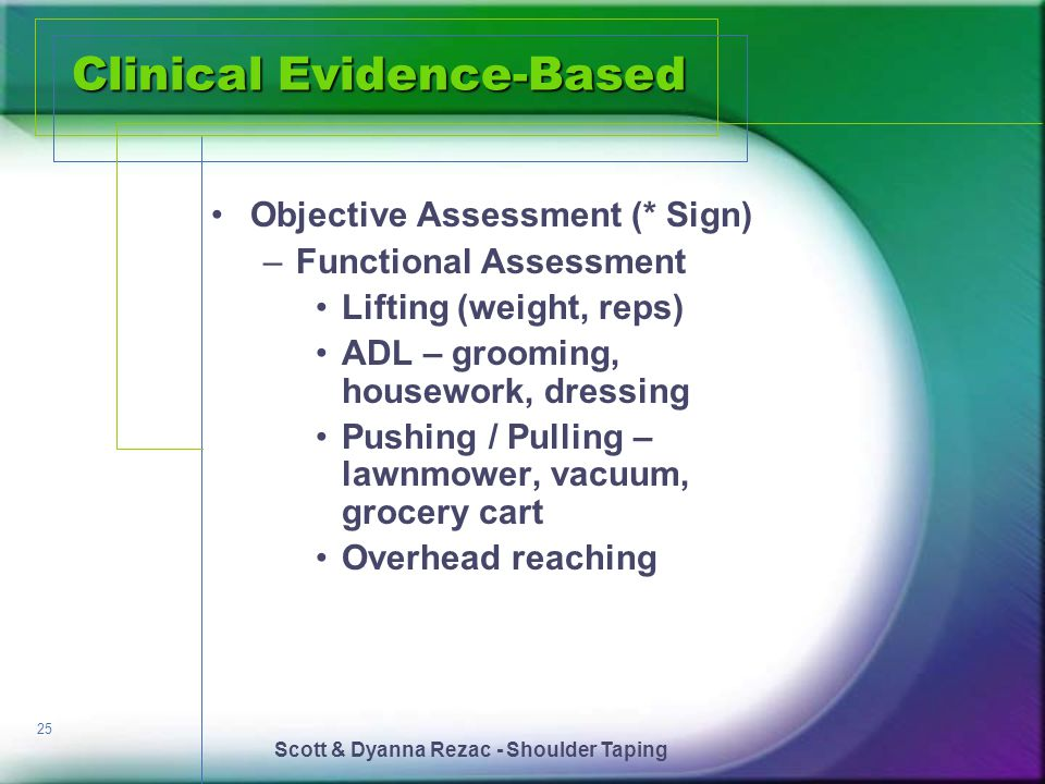 Scott & Dyanna Rezac - Shoulder Taping 25 Clinical Evidence-Based Objective Assessment (* Sign) –Functional Assessment Lifting (weight, reps) ADL – gr