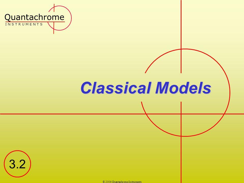 © 2004 Quantachrome Instruments Classical Models Quantachrome I N S T R U M E N T S 3.2